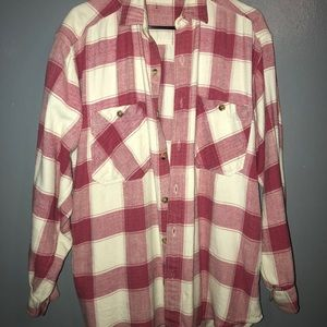 Other - Men's Pink White Plaid Flannel Shirt